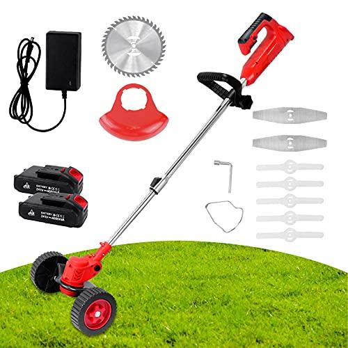 Desbrozadora de césped inalámbrica con batería y cargador, cortabordes eléctricos, kit de recortadora telescópica de jardín con 2 pilas de litio de 3000 mAh y 8 cuchillos, color rojo