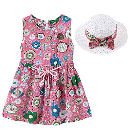 IMJONO Style de Vacances Fille Robe sans Manches Robe à Fleurs bébé Fille + Chapeau de Paille Ensemble de vêtements pour 2020 Tenue d'été pour Enfants 2-7 Ans (Rose Vif,3-4 Ans