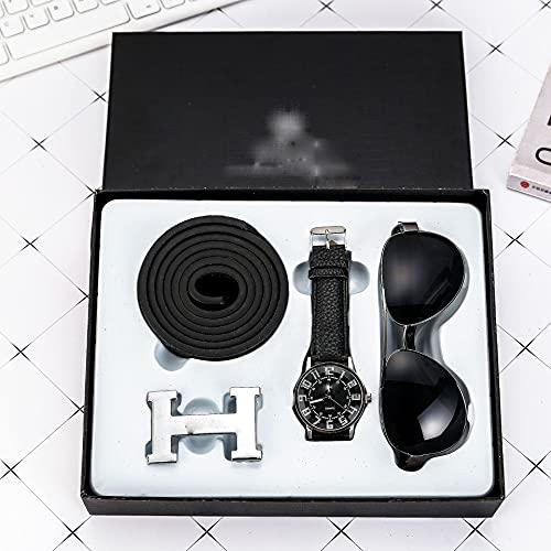 Sgxiyue 3 Teile/Satz Boutique-Geschenk-Set-Gürtel + Quarzuhr + Gläser Geschenke sind eine Gute Wahl Herrenuhr Mode lässig Uhren-Leder (Color : Black)