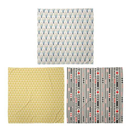 ABAKUHAUS Pack de 3 Bandanas Unisex, Círculos Lámpara eléctrica vigas de celosía gráfico monocromático Triángulos rayas Mínimo, Multicolor