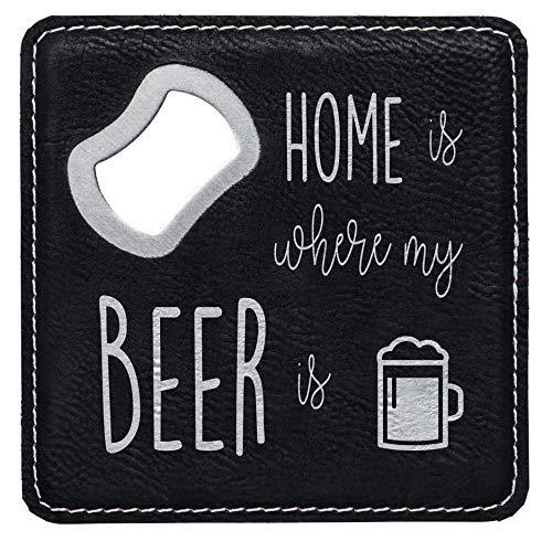 die stadtmeister Bier-Untersetzer Kunstleder Home is Where My Beer is/mit Kapselheber/Flas