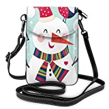 Women Mini Purse Crossbody of Cell Phone,Cheerful Merry Xmas Illustration with A Bird and Snowman Fun Winter Celebration