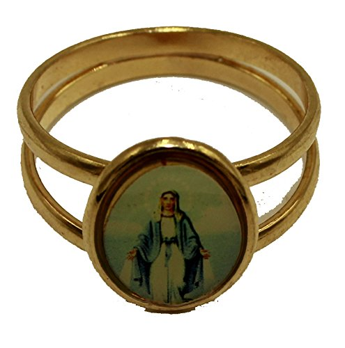 Diamantados of Fla Anillo Chapado en Oro DE 18 Quilates Virgen Milagrosa Tamaño 9 - Nuestra Dama de Milagros Anillo Chapado en Oro DE 18 Quilates