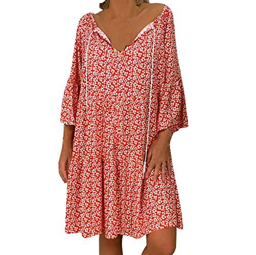 Muyise Damen Kleid T-Shirt Dress Sommer V-Ausschnitt Plus Size Lässig Strandkleider Blumendruck Sieben-Viertel-Ärmel Rock Lose Minikleid Freizeitkleider(Rot,XXL)