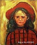 yiyiyaya Frameless Peinture bébé Bosse Peinture d'art Moderne de Jeune Fille en Robe à Carreaux Rouge et...