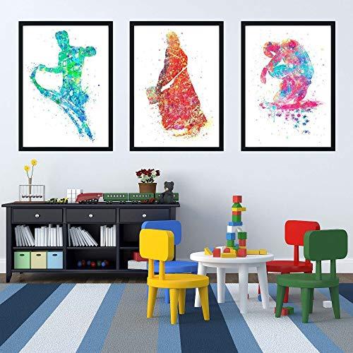 SDFSD Kreatives Graffiti-Aquarell Buntes amerikanisches Superhelden-Filmplakat Nordisches Kinderzimmer Home Decor Leinwand Gemälde 60 * 100cm