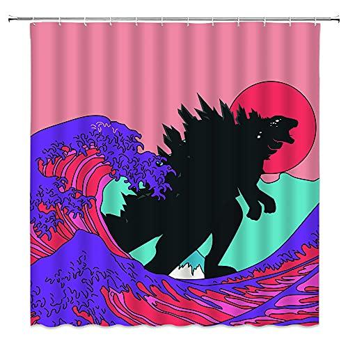 Monster-Duschvorhang mit lustigem Tiermotiv, stehend, in buntem japanischem Stil, Meereswellen, Kanagawa, riesige Wellen, rote Sonne, kreatives Polyester, Badezimmer-Dekoration, inklusive 12 Haken