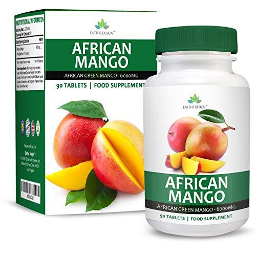 Mango Africano - 6000mg - Suplemento de Máxima Concentración de Mango Verde - African Mango - Para Hombres y Mujeres - Apto Para Vegetarianos - 90 Pastillas (Suministro Para 3 Meses) de Earths Design