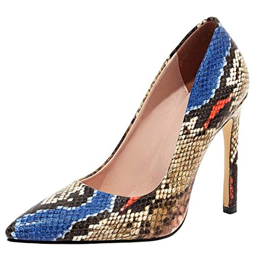 Lydee Mujer Moda Pumps Stiletto Tacon Alto Ponerse Basic Pumps Party Dress Shoes Boda Pumps Animal Blue Size 42