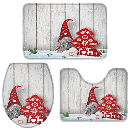 3 Piece Bath Rug Sets, Winter Christmas Gnome Xmas Tree Snowflake Bathroom Mats Set for Christmas Decorations, Non Slip,Water Absorbent U-Shaped Contour Toilet Mat, Toilet Lid Cover