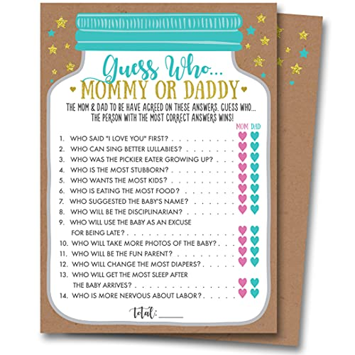 Neatz Baby Shower Mommy Or Daddy Guess Who Game, 25 Cards - Gender Neutral Boy or Girl, Mason Jar Design, Baby Shower Games, Baby Shower Decorations, Baby Shower Favors, Gender Reveal Games