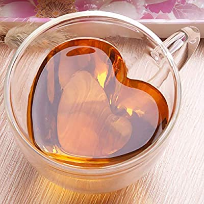 Seninhi Double layer heart cup with Handle, Heat resistant creative clear glass cup,Double Wall Insulated Clear Glass Tea and Coffee Cup 150ml Nice Gift (150ml)
