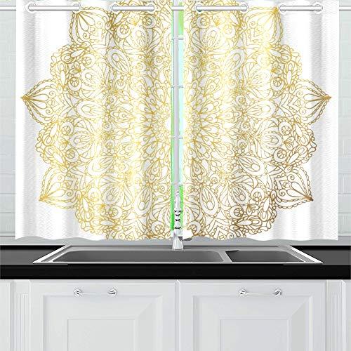 ZHANGhome Mandala Ornamento Decorativo Vintage árabe Mandala Cortinas de Cocina Doradas Niveles de Cortina de Ventana para café, baño, lavandería, Sala de Estar Dormitorio 26 x 39 Pulgadas 2 Piezas