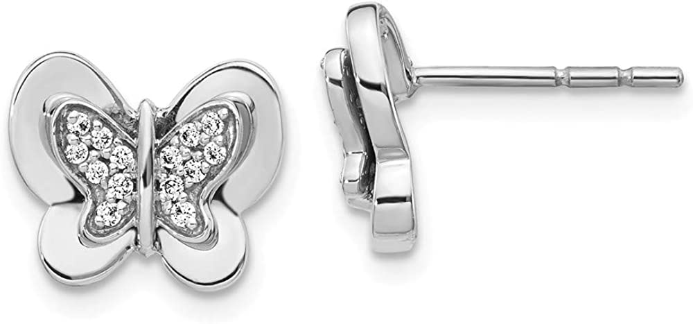 Solid 14k White Gold Diamond Butterfly Button Post Studs Earrings - 10mm x 11mm (.148 cttw.)