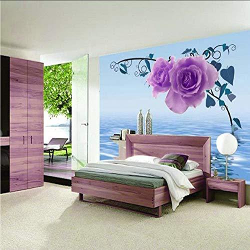 Pbbzl Lila Rose bloem Natuurlijke plant 3D Foto Behang voor Wall 3 D vloerbedekking Behang gedrukt voor woonkamer muurschildering rollen slaapkamer 200 x 140 cm.