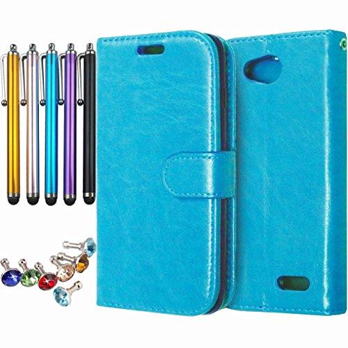 LEMORRY Handyhülle für LG L90 D405 Schale Tasche, Einzigartig Weich TPU + PU Leder Beutel [Kartensteckplätze] und [Bilderrahmen] Stehen Magnetisch Schutzhülle Schließung Schutz Flip Tasche Blau