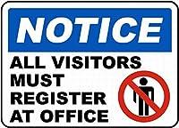 Notice All Visitors Must Register ティンサイン ポスター ン サイン プレート ブリキ看板 ホーム バーために
