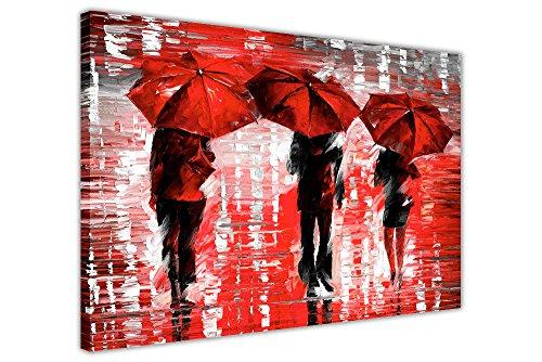 CANVAS IT UP Querformat, gerahmt, Rot 3Regenschirme von Leonid Afremov auf Leinwand, Bilder Drucke Home Deco Poster Größe: 101,6x 76,2cm (101x 76cm)