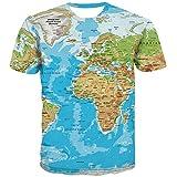 KYKU Unisex 3D T Shirt Men World Map T-Shirt Funny Summer Tops Graphic Tee (X-Large) Blue