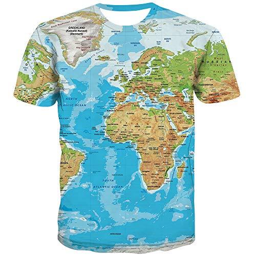 KYKU Unisex 3D T Shirt Men World Map T-Shirt Funny Summer Tops Graphic Tee (Medium) Blue