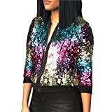Womens Spring Autumn Fashion Zip Up Sequins Biker Bomber Jacket Baseball Jackets Casual Wedding Prom Party Bar Club Stage Short Coat Outwear XXL