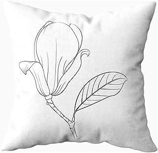 Ducan Lincoln Pillow Case 2PC 18X18,Funda De Almohada Suave,Fundas De Funda De Almohada De Tiro Cuadrado Dibujo Lineal Magnolia Estilo De Flor Fondo De Línea Blanca Negra Cojín De Ambos Lados