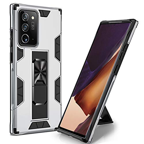 WPCase Samsung Galaxy Note 20 Ultra Case 5G Military Grade Drop Protection Armor Cover with Built-in Magnetic Car Mount Kickstand for Samsung Galaxy Note 20 Ultra 5G 2020-Sliver