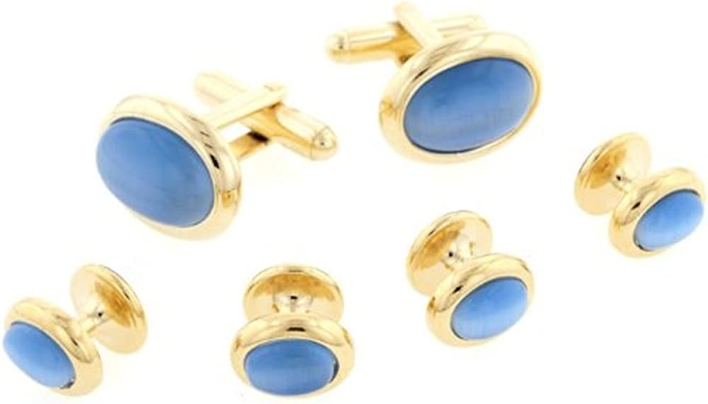 JJ Weston Mid Blue Cats Eye Tuxedo Cufflinks and Shirt Studs. Made in the USA.