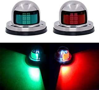 Osaid Boat Navigation Light LED, Deck Mount LED Navigation Lights (Red and Green) Perfect for Boat, Pontoon, Yacht, Skeeter, Sailing Signal Lights, DV 12V, Stainless Steel Cover