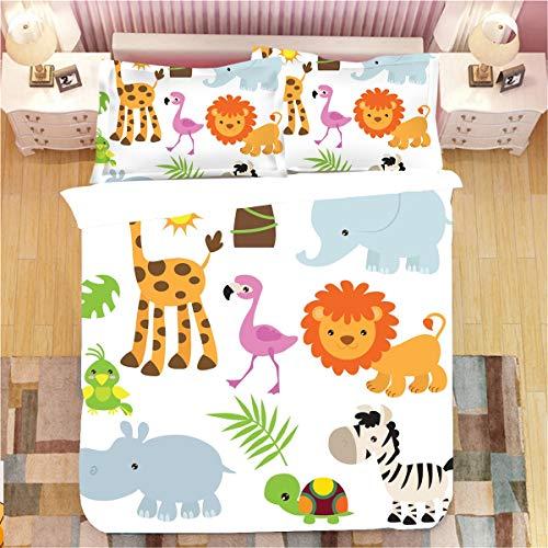 3D Dinosaurier Bettwäsche-Sets, Kinder Jungen Mädchen Cartoon Bettbezug, Lustige Cartoon Tier Flamingo Elefant Löwe Drucken 3 Stück Sets, Leichte Weiche Bettdecke Für Kinder Schlafzimmer Dekoration