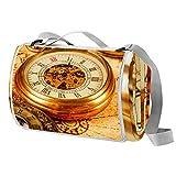 Xingruyun Esterilla Playa Relojes clásicos Relojes Alfombra de Playa Manta Picnic Impermeable Manta de Playa Alfombra de Picnic para la Playa Camping y Picnic 145x150cm cover19.5x18 cm