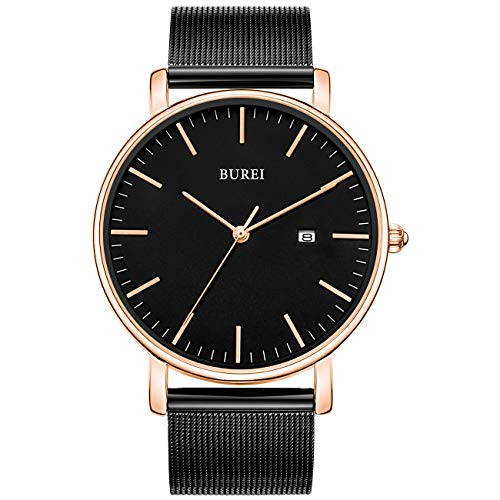 BUREI Ultra dun minimalistisch modern herenhorloge Stijlvol herenhorloge met klassiek eenvoudig ontwerp van grote wijzerplaat en roestvrijstalen band