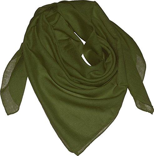 Harrys-Collection Damen Herren Baumwolltuch in vielen Farben 100 x 100 cm, Größen:Einheitsgröße, Farben:oliv