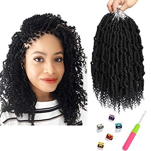 Bomb Twist Crochet Hair 10 Inch 6 Packs Spring Twist Hair Passion Twist Crochet Hair Pre looped Crochet Braids Pretwisted Synthetic Braiding Hair for Black Women (1B)