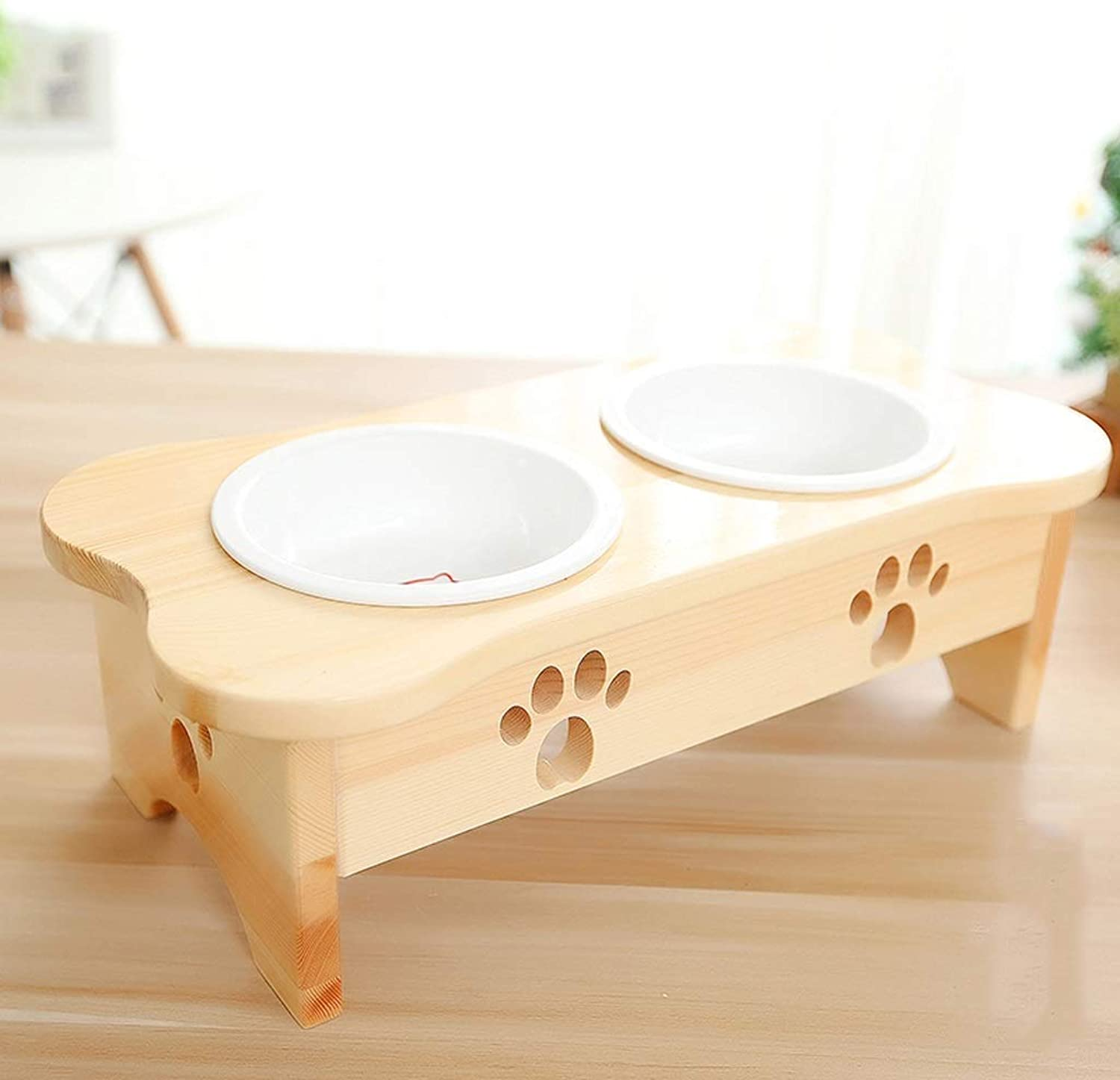 Luxury Pet Bowl, Dog Bowl Cat Bowl Creative Solid Wood Dining Table Ceramic Tilt Double Bowl Cat Food Dog Food Bowl Primary color Pet Supplies Exquisite Cute blueee Cat Garfield Shorthair Cat