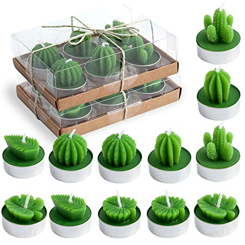 EMOHOME 12 Pieces Cactus Tealight Candles, Artificial Succulent Decorative Handmade Cactus Palm Leaves Tealight Candles for Birthday Gifts Wedding Party Spa Home Decoration
