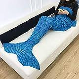 Meerjungfrauenschwanz Decke, Stricken Häkeln Meerjungfrau Flosse Sofadecke Warm Bequem Fischschuppenmuster Schlafsack Strickdecke mit Kinder Erwachsener Geschenk-216x90cm-C