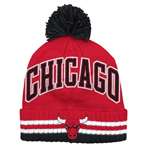adidas Chicago Bulls Bold Wordmark Striped Cuff Pom Knit Beanie Hat/Cap