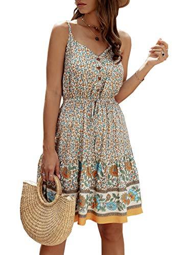 PRETTYGARDEN Women's Floral Sexy V Neck Spaghetti Strap Backless Button Down Sundress Swing Ruffle Summer Mini Short Dress with Belt (Z-Apricot, Large)