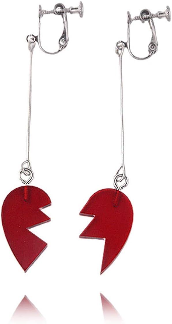 Cosplay Earrings Heart Dangle Earring Halloween Red