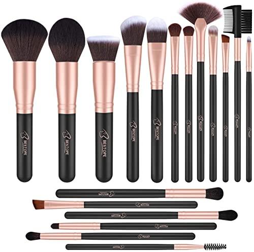 BESTOPE Brochas de Maquillaje Profesional 18 piezas Pinceles de Maquillaje de Fibra Sintética para Sombra de Ojos, Base, Rubor (Oro Rosa)