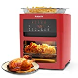 Air Fryer, Electric Airfryer, 10-in-1 Cook Presets with LED Digital Touchscreen Rotisserie Oven, Countertop Oven with Convection&Temp, Freidora de Aire, Dishwasher Safe, Recipe Included, RED, Amaste