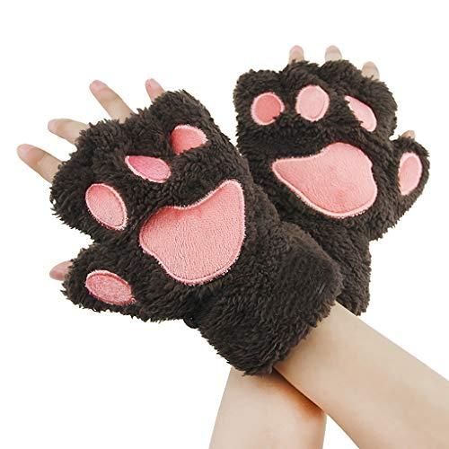 AfinderDE Halbhandschuhe Fingerlos Handschuhe Damen Mädchen Plüsch Halb Handschuhe dicken warmen Fingerhandschue Cartoon Tier Bär Katze Krallen Winterhandschuhe