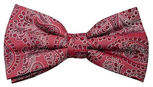Designer Nœud papillon soie rouge bordeaux argent à motifs - Nœud papillon soie silk