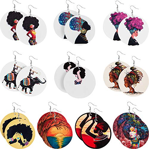 10 Pairs Round African Women Earrings Wooden Painted Earrings Ethnic Style Earring (Classic Style)