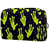 Toiletry Bag Cosmetic Travel Makeup Organizer Wash Bag Pouch with Zipper Aliens Hands Ufo for Travel Accessories Essentials