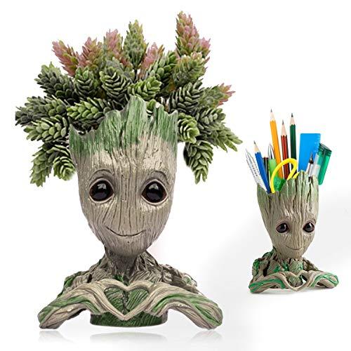 Maceta para plantas de bebé Groot, bonita maceta para suculentas con orificio de drenaje, modelo Groot, soporte para bolígrafos de juguete para amigos y decoración de jardín