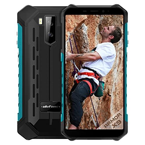 Ulefone Armor X9 Outdoor Smartphone ohne Vertrag 5.5 Zoll HD+ 32GB/3GB RAM Octo-Core 5000mAh Akku, 13MP+2MP Kamera Android 11 Dual SIM Handy-NFC/OTG/GPS-Grün