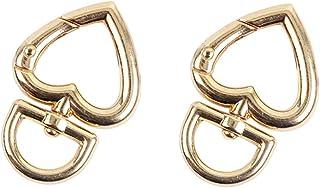 10 PCS (Gold) Heart Shape Lobster Keychain Swivel Lanyard Snap Hook D Shape Claw Clasp Key Chain Hooks Key Rings Crafting ...