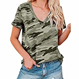 ZFQQ Camisetas de Manga Corta con Cuello en V de Primavera y Verano para Mujer Camiseta Multicolor de Camuflaje Casual de Moda